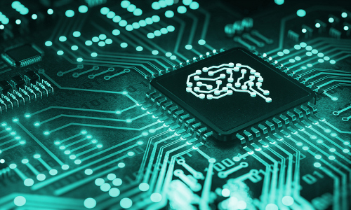 Illustration of a brain image on a computer chip.